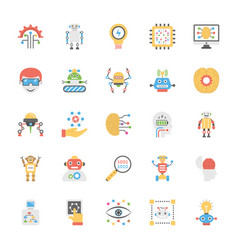 artificial intelligence flat icon pack vector image