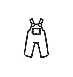 Baby overalls sketch icon vector