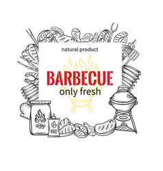 Barbecue square banners vector
