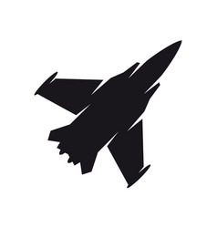 Black military aircraft symbol fighter jet vector