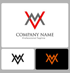 business logo initial letter v and m flat vector image