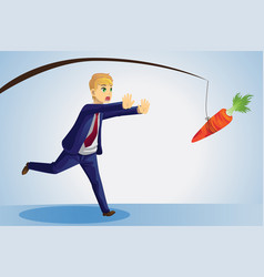 Businessman reaching for carrot vector