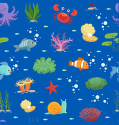 Cartoon underwater creatures and seaweed vector