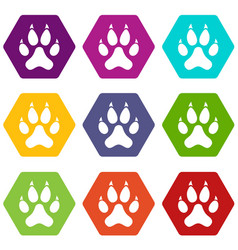 cat paw icon set color hexahedron vector image