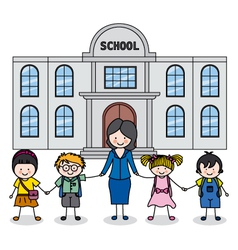 Children with teacher vector image