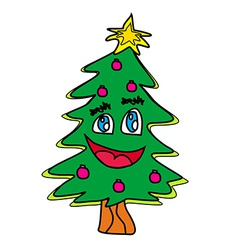 christmas tree cartoon character vector image