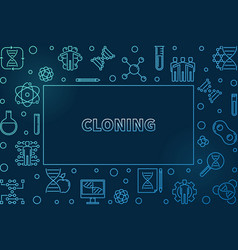 Cloning blue outline horizontal frame or vector