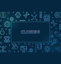 Cloning blue outline horizontal frame vector