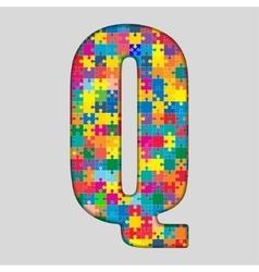 Color Puzzle Piece Jigsaw Letter - Q vector image