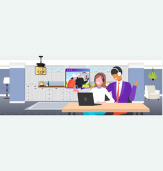 couple having video conference with grandparents vector image