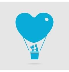 Couple on a balloon Symbol vector image