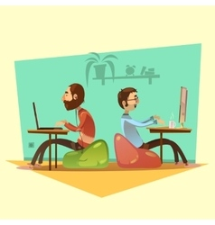 Coworking Cartoon Set vector image