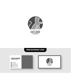 Creative cat logo design abd business card vector
