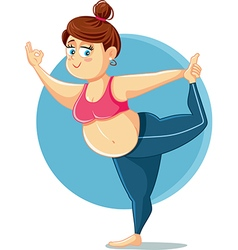 Cute Overweight Girl in Yoga Pose Cartoon vector image