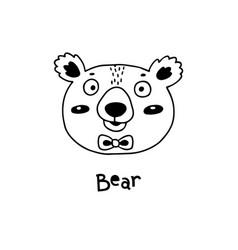 cute simple bear face cartoon style vector image