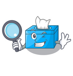Detective cartoon tissue box in the restaurant vector