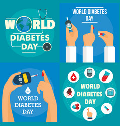 Diabetes day banner set flat style vector
