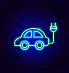 electro car neon sign vector image