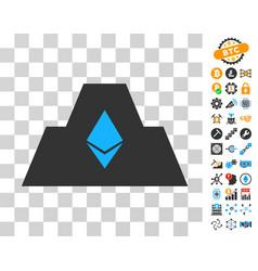 Ethereum crystal citadel icon with bonus vector