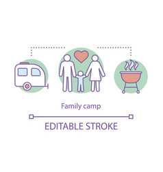 Family parenthood camp concept icon summer vector