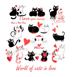 festive funny set enamored cute cats vector image