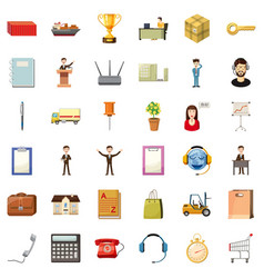 Finance business icons set cartoon style vector