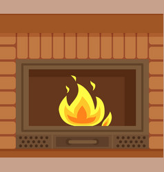 Fireplace with metal frame construction of brick vector