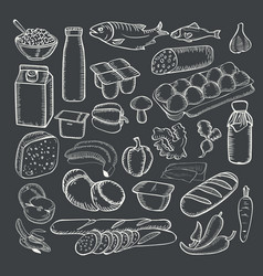 Food doodles collection white chalk on a vector