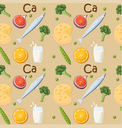 Food rich in calcium seamless pattern vector