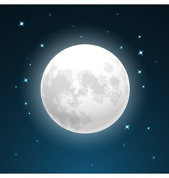 Full moon and stars vector image