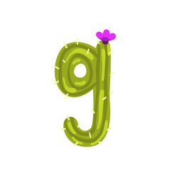 g letter in the form of cactus with blooming vector image