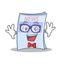 Geek newspaper character cartoon style vector