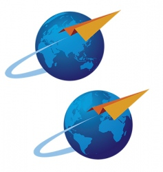 globe and airplane vector image