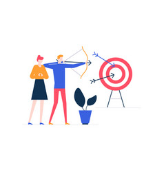 goal achievement - colorful flat design style vector image