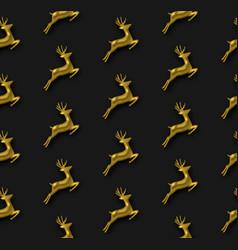 Gold christmas 3d reindeer seamless pattern vector