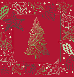 Green christmas fir tree and toys on red vector