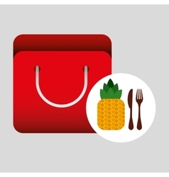 Grocery bag pineapple nutrition fruit vector