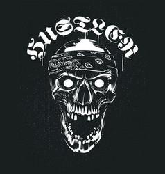 grunge skull in bandana with hustler typography vector image