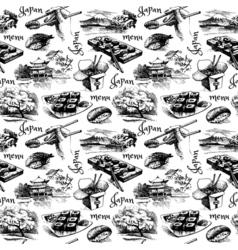 Hand drawn vintage Japanese seamless pattern vector image