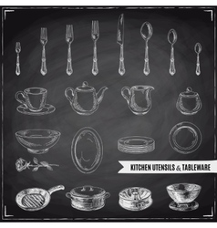 Hand drawn with kitchen tools vector