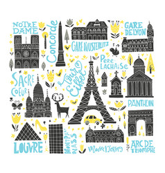 handdrawn paris buildings vector image
