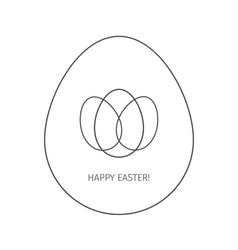 happy easter egg linear icon vector image