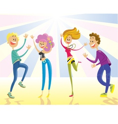 Happy young people dancing vector