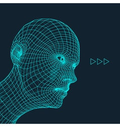 Head of the Person from a 3d Grid Human Head vector image