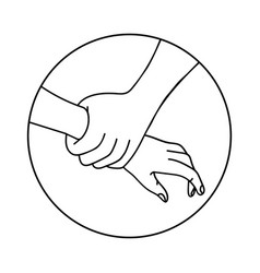 Helping hand outline vector