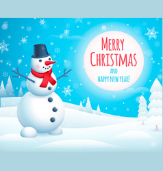 Holiday greeting design with cute snowman vector