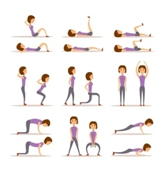 Home workout woman vector
