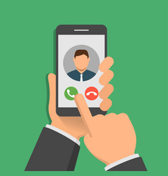 incoming call on smartphone screen one hand holds vector image