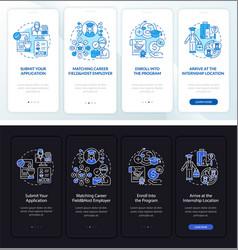 Internship overseas onboarding mobile app page vector