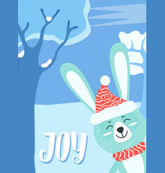joy greeting card with bunny animal and lettering vector image